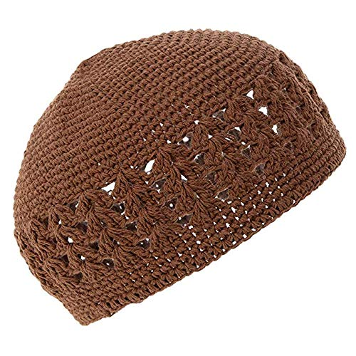 Knit Kufi Hat - Koopy Cap - Crochet Beanie (Brown)