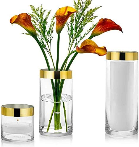 Set of 3 Glass Cylinder Vases 4, 8, 10 Inch Tall with 1 Inch Gold Rim Multi-use Pillar Candle, Floating Candles Holders or Flower Vase Perfect as a Wedding Centerpieces.