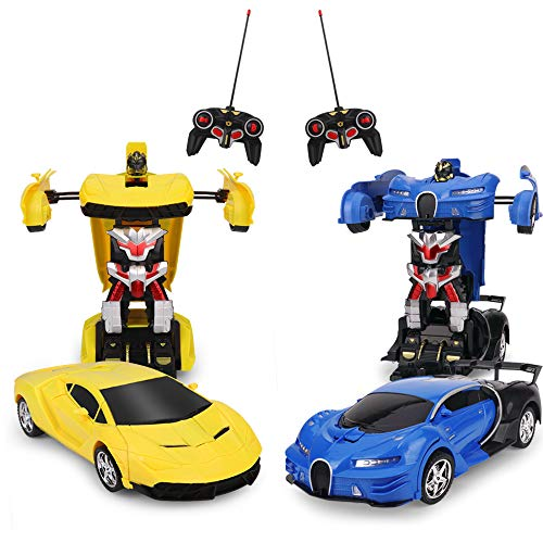 Pack of 2 R/C Transformation Car Toy,Transform Car Robot, Electronic Remote Control RC Vehicles with One Button,Race Car Toys for Kids- Each with Different Frequencies Both Can Race Together - Yellow Robot