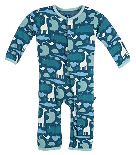 Kickee Pants Baby Boys' Print Coverall, Peacock Multi Animal, 3-6 Months