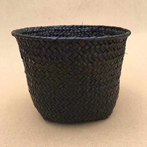 Best Quality - Storage Baskets - Storage Baskets Foldable Laundry Straw Patchwork Wicker Rattan Belly Garden Flower Pot Planter Basket Handmade - by - 1 PCs