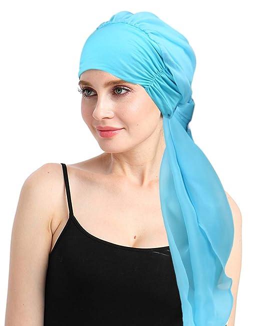 f976d9497efa9 Chemo Headwear for Women Summer Cancer Head Wraps Scarfs Easy Tied Turbans  Bamboo Light Blue