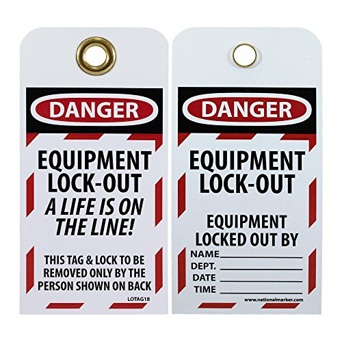 """NMC LOTAG18 Lockout Tag, """"DANGER - EQUIPMENT LOCK-OUT"""" 6"""" Height x 3"""" Width, Unrippable Vinyl, Red/Black on White (Pack of 10) from NMC"""