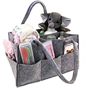 Baby Diaper Caddy, Toy Bin, Nursery Storage Organizer, for Home and Car - Koala Grey Felt, Stylish, Roomy, Portable and Multipurpose