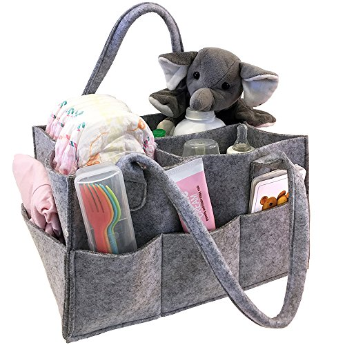 Monarch Pool Table (Baby Diaper Caddy, Toy Bin, Nursery Storage Organizer, for Home and Car - Koala Grey Felt, Stylish, Roomy, Portable and Multipurpose)