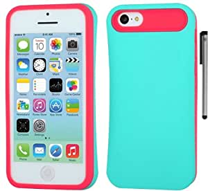 For Apple iPhone 5C Back Protector Hybrid Card Holder Cover Case with ApexGears Stylus Pen (Teal Pink)