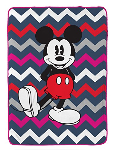 Disney Mickey Mouse Chevron Blue/Pink/White Plush 62