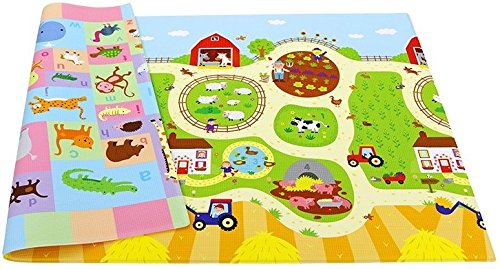 Baby Care Play Mat Foam Animal Floor Gym, Busy Farm, Large by Baby Care