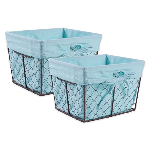 DII Vintage Chicken Wire Basket Removable Fabric Liner, Set of 2, Aqua