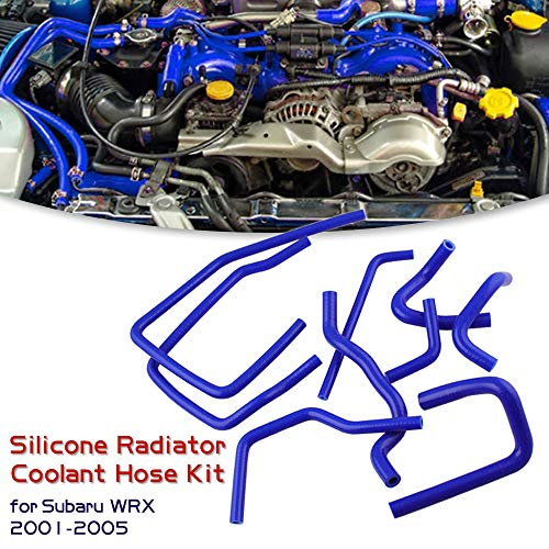 Sporacingrts 3-Ply Silicone Radiator Coolant Ancillary Hose Kit for Subaru WRX 2001-2005, Blue