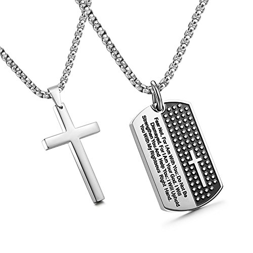 JewelrieShop Stainless Steel Mens Cross Necklace Lord's Prayer Dog Tag Pendant Mens Necklace Stainless Steel Necklace for Men - Isaiah 41:10(01. Lord's Tag Cross Pendant (Mens Dog Tag Pendant)
