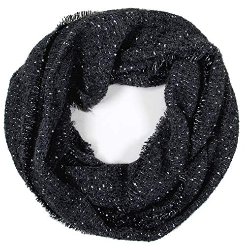 Me Plus Women Winter Soft Knitted Infinity Fashion Circle Loop Thick Warm Scarf (2 Styles) (Black-Boucle) -