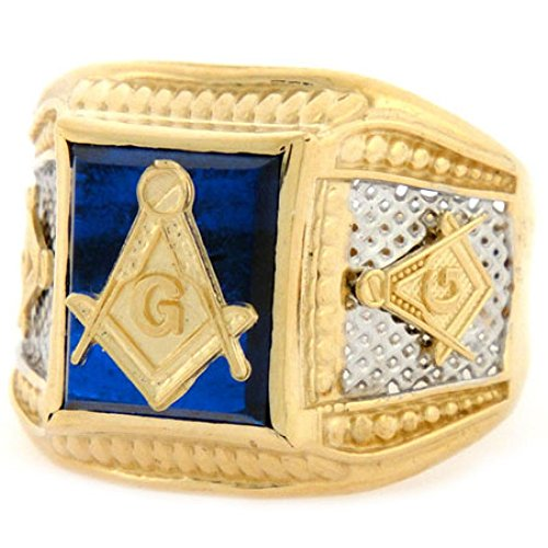 Tone Gold Two 14k Sapphire (14k Two-Tone Gold Simulated Sapphire Masonic Mens Ring)