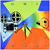 3dRose dc_165409_1 Movie Reel on Projectorin Vivid Colors Desk Clock, 6 by 6-Inch
