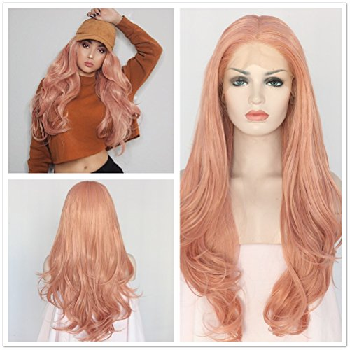 Sapphirewigs Peach Pink Color Natural Wavy Women Wedding Hair Present Beauty Blogger Daily Makeup Natural Hairline 24'' Synthetic Lace Front -