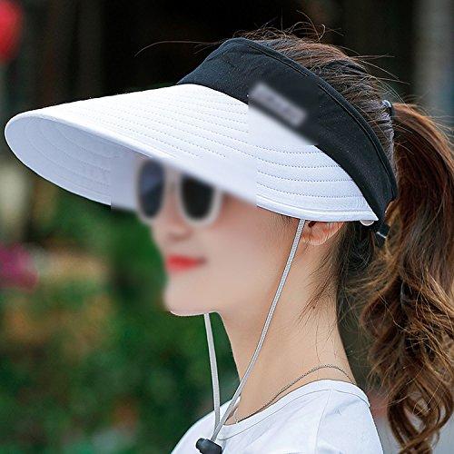 Women Sun Paleta Beads Packable Visor Hat with Big Head Wide Brim Hat Beach  UV Protection Cap 4b0893fad401