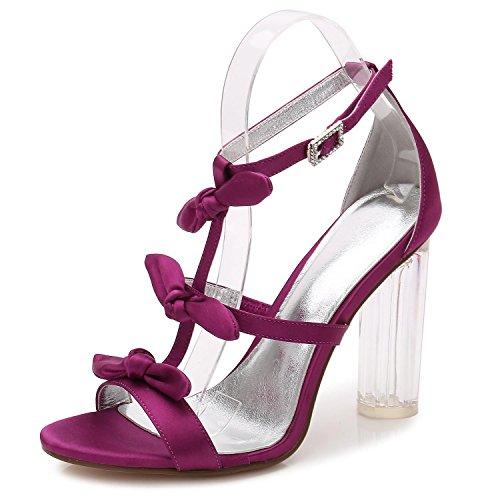 yc L Mujeres Zapatos Las Personalizados Altos Cristal Fiesta tacones 2 Plataforma Purple F2615 Boda toe Peep Baile De Satén rrwdSXq