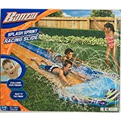 Banzai Splash Sprint Water Slide with 16 Foot Dual Racing Lanes and Splash Pool ( Adventure Summer & Spring Toy Backyard Fun )