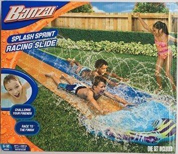 Banzai Splash Sprint Water Slide with 16 Foot Dual Racing Lanes and Splash Pool ( Adventure Summer & Spring Toy Backyard Fun )