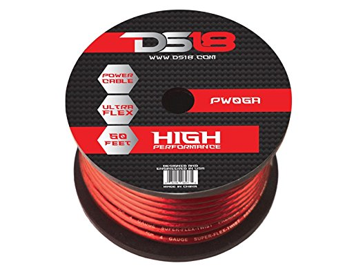 DS18 PW-0GA-50RD-2pk 50-Feet 0-Gauge Ultra Flex Power Cable (Red), Set of 2 by DS18