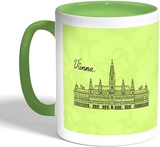 كوب سيراميك للقهوة بتصميم معالم عالمية - فيينا ، لون اخضر
