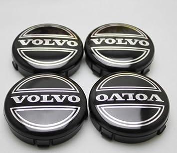 4 x Volvo Alloy Badges Center Nabe tapas 64 mm Negro C70 S60 V60 V70 S80 XC90: Amazon.es: Coche y moto