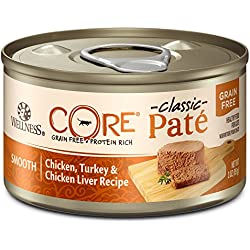 Wellness CORE Natural Grain Free Wet Canned Cat Food, Chicken & Turkey, 3-Ounce Can, Pack of 12