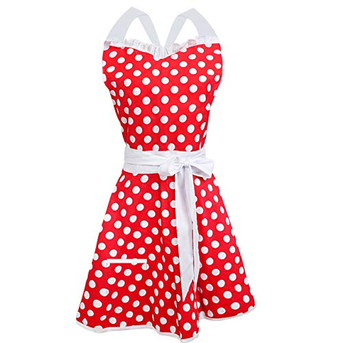 (Syntus AP127 Lovely Sweetheart Red Retro Kitchen Cooking, Women Cotton Polka Dot Adjustable Apron Waitress with Pocket for Halloween Christmas Dress Party Costume Ball)