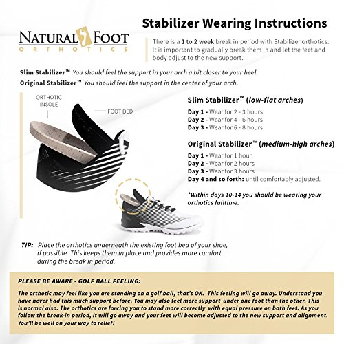 Natural Foot Orthotics Original Stabilizer Plantar Fasciitis Inserts for Medium to High Arches, Arch Support Insoles for Heel Pain, Balance, Posture, Made In USA, 6-6.5 Mens / 7-7.5 Womens by Natural Foot Orthotics (Image #4)