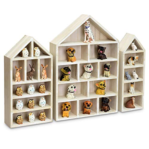 """Ikee Design House-Shaped Wooden Shadow Cubby Box Display Shelf Toy Organizer Storage Shadow Box for Mini Toys Figures, Set of 3, Wash White Color, 10"""" W x 2 1/4"""" D x 15"""" H"""