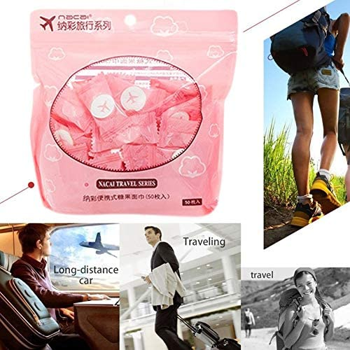 sahnah 50Pcs Outdoor Travel Portable Disposable Compressed Face Towel Capsules Wipes