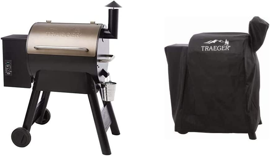 Traeger Grills Pro Series 22 Pellet Grill & Smoker | Bronze, Gen I, 572 Sq. In. Capacity | TFB57PZBO model & BAC503 Pro 575/22 Series Full Length Grill Cover, Black