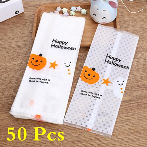 Make Homemade Halloween Treat Ideas (50 Pcs Trick-or-Treat Candy Bags, Halloween Matte Translucent Long-shaped Biscuit Bag for Party Favors, Snacks, Decoration, Children Arts & Crafts, Event Supplies)
