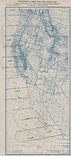 Amazon.com: USA WEST COAST. Isogonic lines in 1783 from Spanish ...