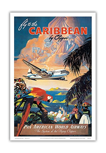 Fly To The Caribbean By Clipper   Pan American World Airways  Paa    Vintage Airline Travel Poster By Mark Von Arenburg C 1940S   Master Art Print   12In X 18In