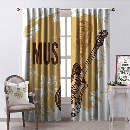 GloriaJohnson Rock Music Wear-Resistant Color Curtain Vintage Sketch Hand Drawn Drums and Microphone Pattern Abstract Backdrop Waterproof Fabric W52 x L72 Inch Pale Coffee Brown