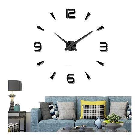 DIY Reloj de pared grande Número 3D Etiqueta de pared Metal Relojes grandes Decoración de la