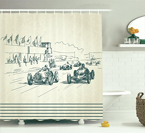 Racing Vintage Car (Ambesonne Old Car Decorations Shower Curtain, Vintage Racing Cars Exciting Sport Nostalgic Sketchy Doodle Style Art Print, Fabric Bathroom Set with Hooks, 69W X 70L Inches, Beige and Dark Taupe)