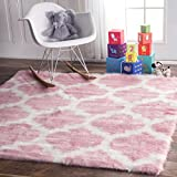 Faux Sheepskin Solid Soft and Plush Cloud Trellis Kids Pink Shag Area Rugs, 5 Feet by 5 Feet (5' Square)