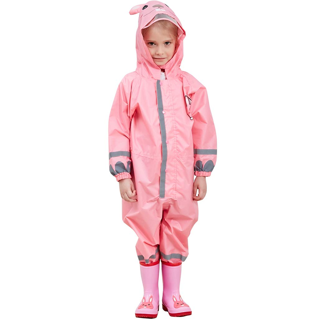 Child Raincoat Kids Rainwear Jumpsuit 1Pcs Reusable Rain Poncho Hooded Onesies