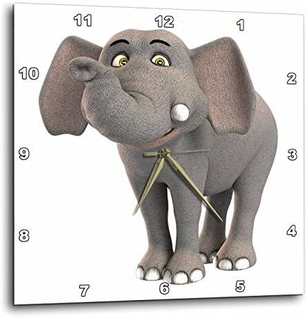 3dRose DPP_180999_3 a Baby Cartoon Elephant Smiling Wall Clock, 15 by 15