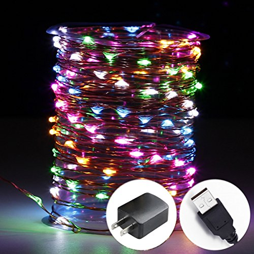 Innotree LED Fairy Lights, Waterproof String Lights USB Plug In for Bedroom Indoor Outdoor 33 Ft Copper Wire 100 LED Bulbs Multi Colored (Kits Rainbow Heart)
