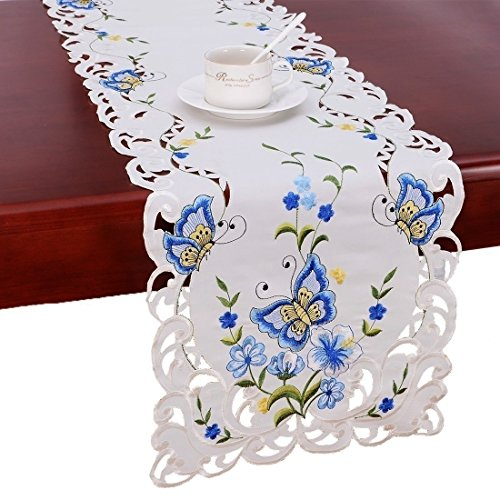 Dresser Butterflies Scarf (Simhomsen Spring Butterfly Floral Table Runners, Dresser Scarf (Blue, 14 × 54 inch))