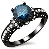 135ct-Blue-Round-Diamond-Engagement-Ring-14k-Black-Gold-Rhodium-Plating-Over-White-Gold-Vintage-Style
