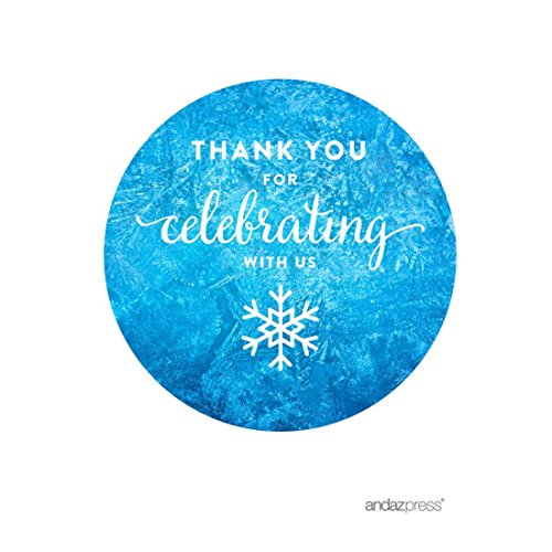 Snowflake Gift Tag - Andaz Press Birthday Round Circle Labels Stickers, Thank You for Celebrating With Us, Frozen Snowflake, 40-Pack, For Gifts and Party Favors