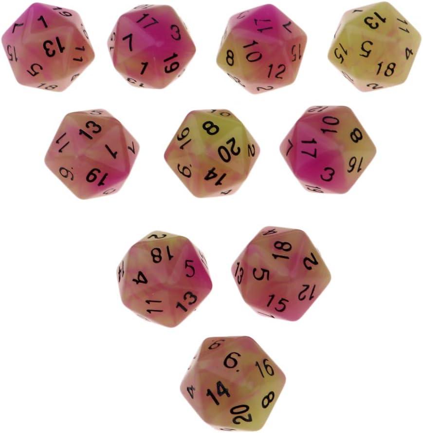 FLAMEER D20 Dados de Plástico Doble Colores para Juegos de Mesa de Tablero 10 Pedazos - Púrpura + Verde: Amazon.es: Juguetes y juegos