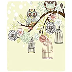 VROSELV Custom Blanket Owls Home Collection Owl Winter Floral Background Blossoms Owls Out of Their Cages Bird Cage Freedom Image Bedroom Living Room Dorm Olive Blue Pink
