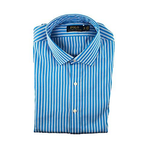Polo Ralph Lauren Mens Stripe Buttondown Shirt Spread Collar (Blue/Navy, 15.5 (Ralph Lauren Stripe Shirt)