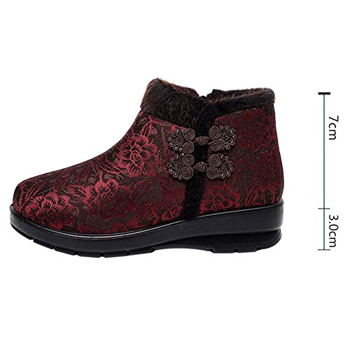 Hzjundasi Damen Winterschuhe Warm Pelz Schneestiefel Kurzschaft Winter Stiefel Outdoor Freizeit Schuh Rot 2