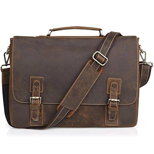 Jack&Chris men's Genuine Leather Briefcase 16'' Laptop Bag Messenger Shoulder Bag, NM1860 by Jack&Chris